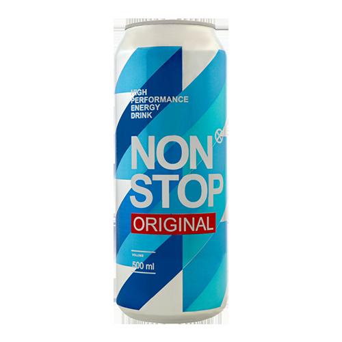 Напій Non Stop Original енергетичний б/а, сильногазований 0,5л., з/б