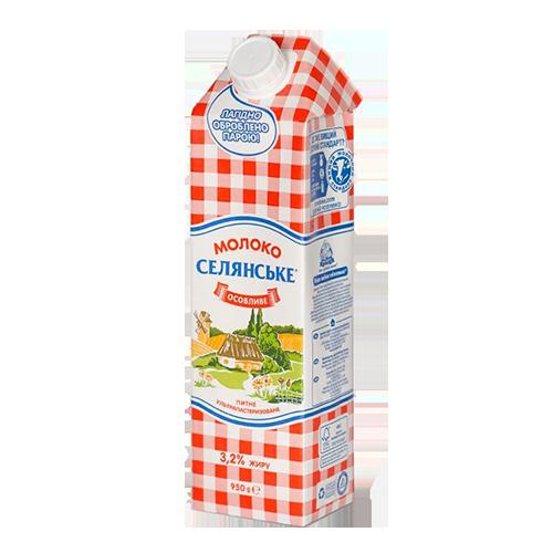"""Молоко ультрапастеризоване """"Селянське""""  """"Особливе"""", 3,2%, 950г тетра-пак"""