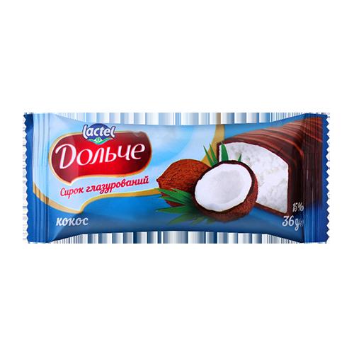 Сирок глазурований термізований 15% з наповнювачем кокос Дольче 36г флоу-пак