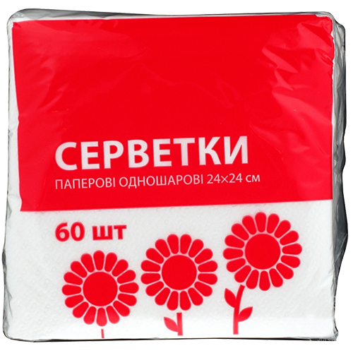 Серветки ЕКО-номка одношарові 60 шт