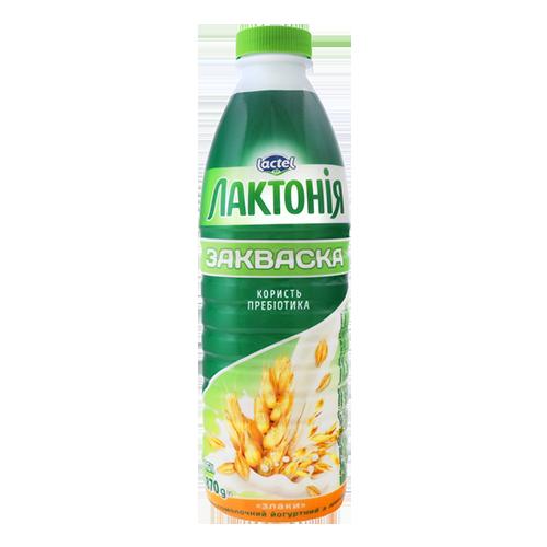 """Напій кисломолочний йогуртний з лактулозою """"Закваска"""" з наповнювачем злаки 1,5% Лактонія 870г пляшка"""