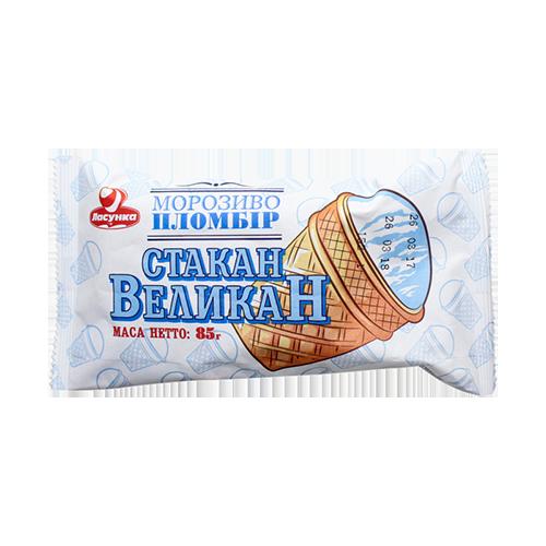 Морозиво Ласунка Стакан-великан пломбір ваф. ст. 85г п\е