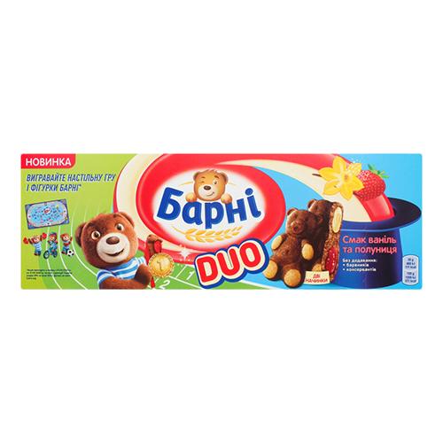 Бісквіт Барні Дуо полуниця-ваніль 150г  к/у