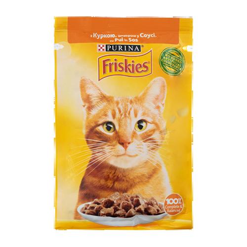 Корм для котів Пуріна Фріскіс вологий з куркою шматочки у соусі 85г м/у