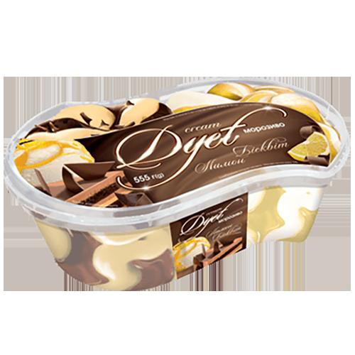 "Морозиво «Cream Dyet» Ласунка  зi смаком сиру з соусом ""Лимон"", зi смаком бiсквi 555г судок"