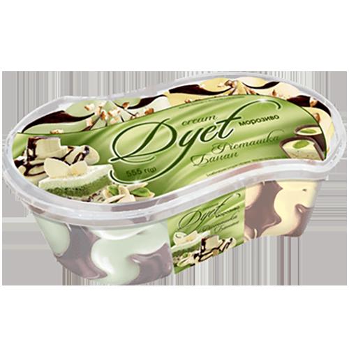 """Морозиво «Cream Dyet» Ласунка """"Бананове"""" та """"Фiсташкове"""" з соусом з какао 555г судок"""