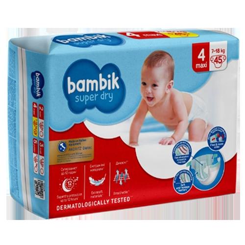 Підгузки дитячі Bambik одноразові Jumbo (4) MAXI (7-18 кг) 45шт